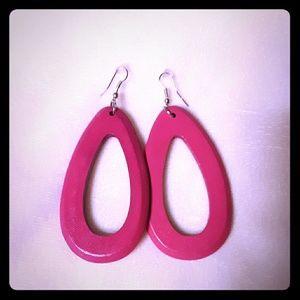 Hot Pink Painted Wood Hoops Dangle Earrings